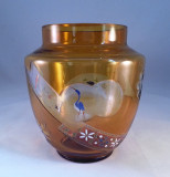 French Art Nouveau Cut Enameled Etched Glass Vase