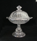 "Waffle Flint Glass 7.25"" Covered Compote"
