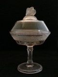 Frosted Flower Band LOVE BIRDS Covered Compote