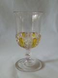 Six Panel Finecut Amber Stained Glass Goblet