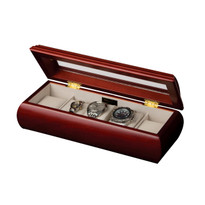 Emery Glass Top Wooden Watch Box in Cherry Finish