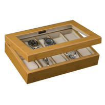 Logan Glass Top Wooden Watch Box in Bamboo Finish