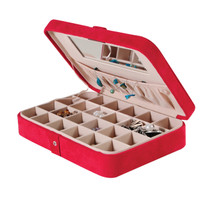 Maria Plush Red Fabric Jewelry Box and Ring Case