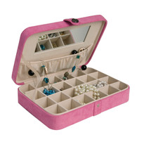 Maria Plush Pink Fabric Jewelry Box and Ring Case