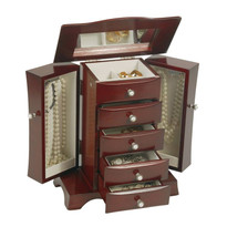 Bette Wooden Jewelry Box in Mahogany Finish