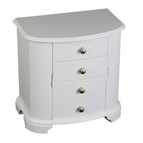 Kaitlyn Upright Music Wooden Jewelry Box in White