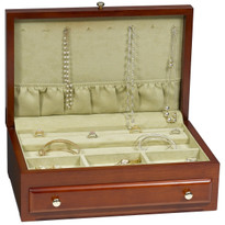 Cherry finish veneer jewelry box with soft aloe velvet interior.