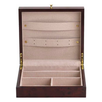 """Jewelry box measures 10"""" wide x 9"""" deep x 3"""" inches high."""