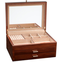 Mirror in lid and six ring bars with eight spacious divided compartments.