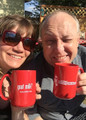 Erin and Doug enjoy a cool beverage from their Henry Milker mugs.