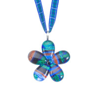 Glass Flower Pendant (Douglas tartan ribbon)