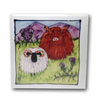 Highland Cow and Sheep card
