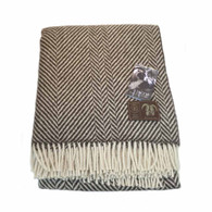 Jacob Wool Brown Chevron Blanket