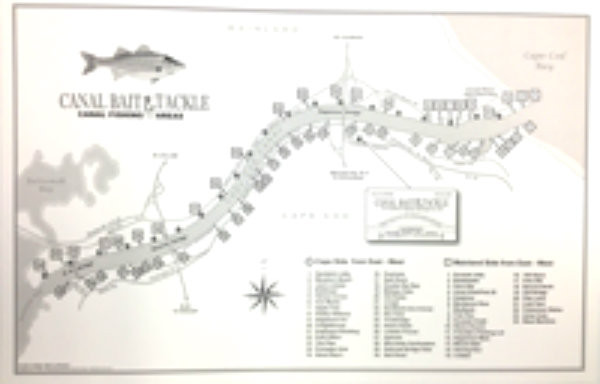 Cape cod canal fishing map canal bait and tackle for Canal bait and tackle fishing report