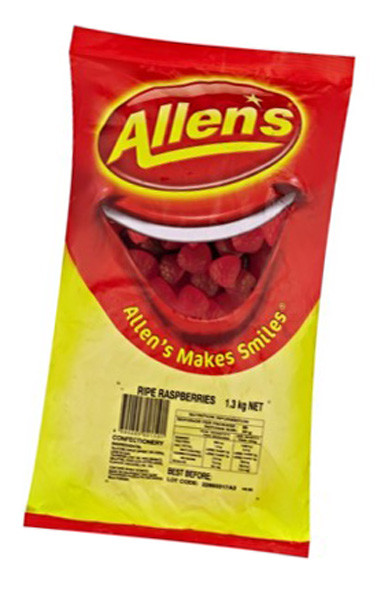 Allens Ripe Raspberries, by Allens Confectionery,  and more Confectionery at The Professors Online Lolly Shop. (Image Number :6228)