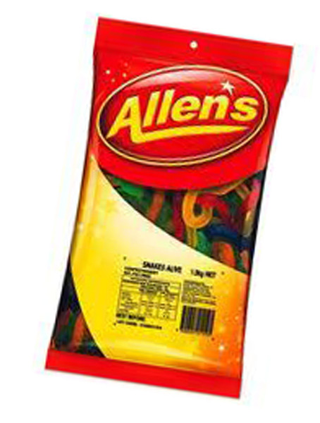 Allens Snakes Alive, by Allens Confectionery,  and more Confectionery at The Professors Online Lolly Shop. (Image Number :6216)