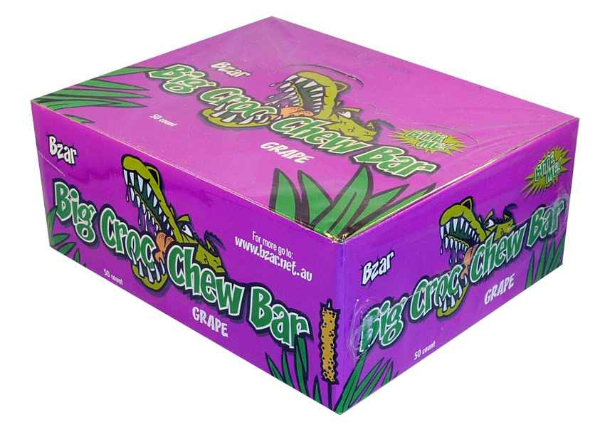 BZar Big Croc Chew Bars - Grape, by Candy Brokers,  and more Confectionery at The Professors Online Lolly Shop. (Image Number :1928)
