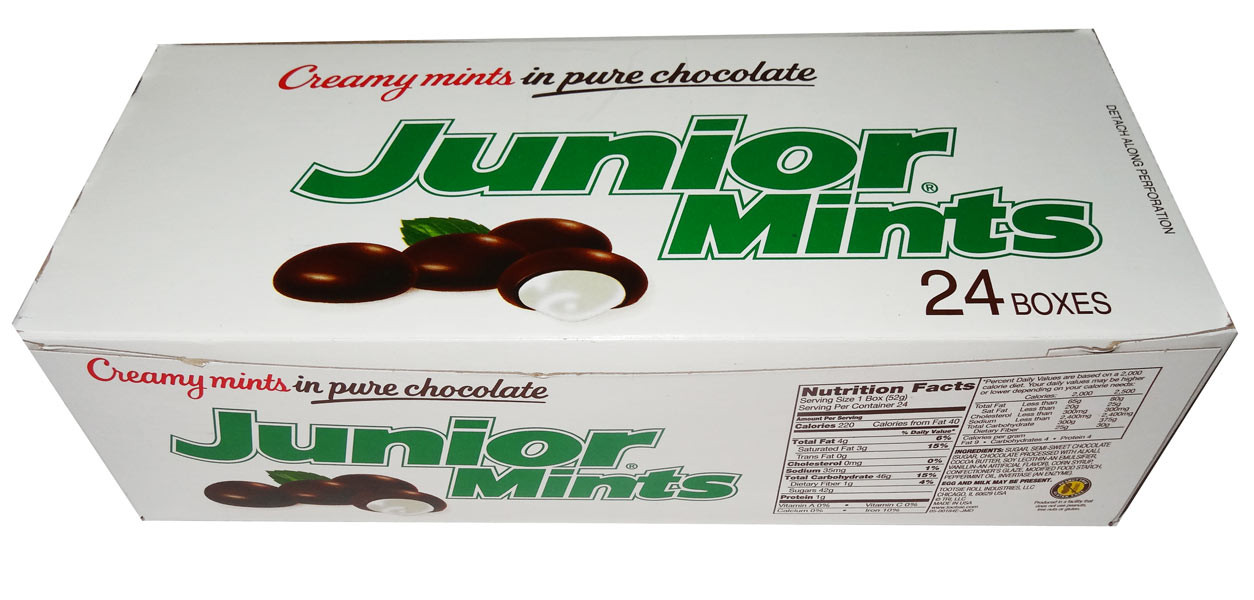 Junior Mints, by Tootsie Roll Industries,  and more Confectionery at The Professors Online Lolly Shop. (Image Number :7701)