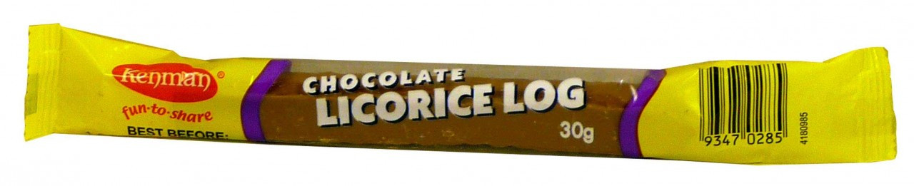 Kenmans Chocolate Licorice Log, by Kenman,  and more Confectionery at The Professors Online Lolly Shop. (Image Number :2037)
