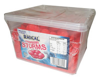 Radical Storms - Strawberry, by AIT Confectionery,  and more Confectionery at The Professors Online Lolly Shop. (Image Number :6331)