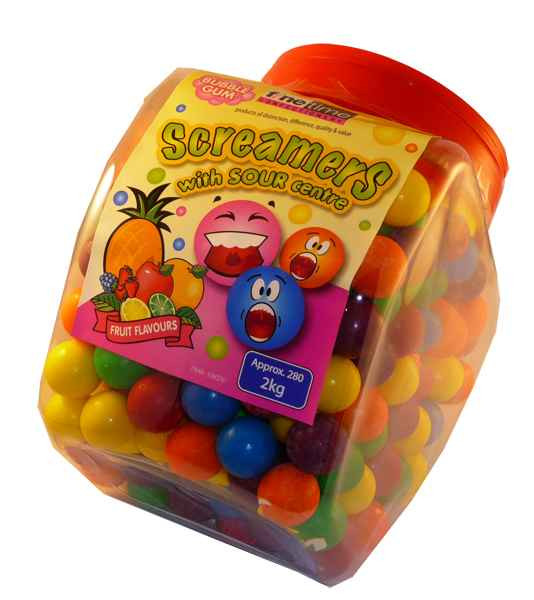 Screamers Bubble Gum, by FineTime,  and more Confectionery at The Professors Online Lolly Shop. (Image Number :2118)