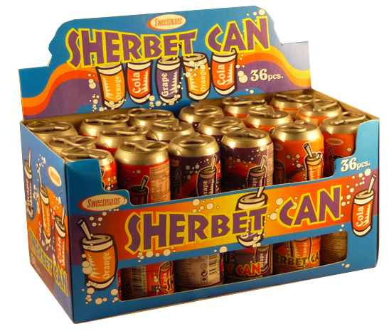 Sherbet Cans, by Sweetmans,  and more Confectionery at The Professors Online Lolly Shop. (Image Number :2119)