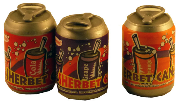 Sherbet Cans, by Sweetmans,  and more Confectionery at The Professors Online Lolly Shop. (Image Number :2265)
