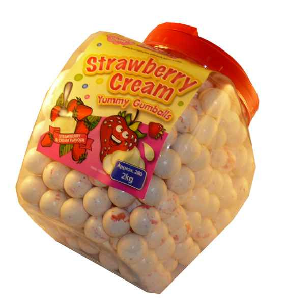 Strawberries and Cream Bubble Gum, by FineTime,  and more Confectionery at The Professors Online Lolly Shop. (Image Number :2138)