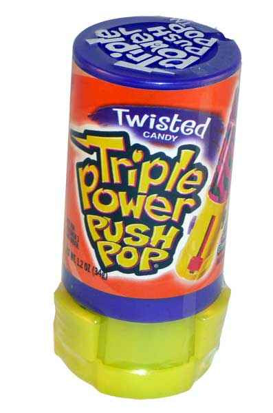 Triple Power Push Pop, by Myriad Marketing,  and more Confectionery at The Professors Online Lolly Shop. (Image Number :2169)