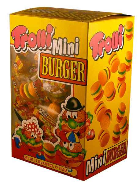 Trolli Mini Burgers, by Trolli,  and more Confectionery at The Professors Online Lolly Shop. (Image Number :2178)
