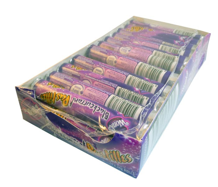 Willy Wonka - Blackcurrant Pastilles, by Wonka,  and more Confectionery at The Professors Online Lolly Shop. (Image Number :2953)