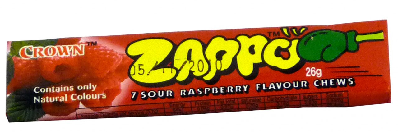 Zappo - Raspberry Chews, by Crown Confectionery,  and more Confectionery at The Professors Online Lolly Shop. (Image Number :2340)