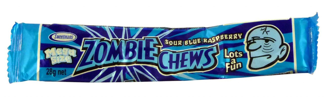 Zombie Chews - Sour Blue Raspberry, by Sweetmans,  and more Confectionery at The Professors Online Lolly Shop. (Image Number :2215)