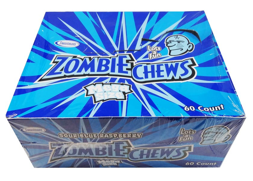 Zombie Chews - Sour Blue Raspberry, by Sweetmans,  and more Confectionery at The Professors Online Lolly Shop. (Image Number :8331)