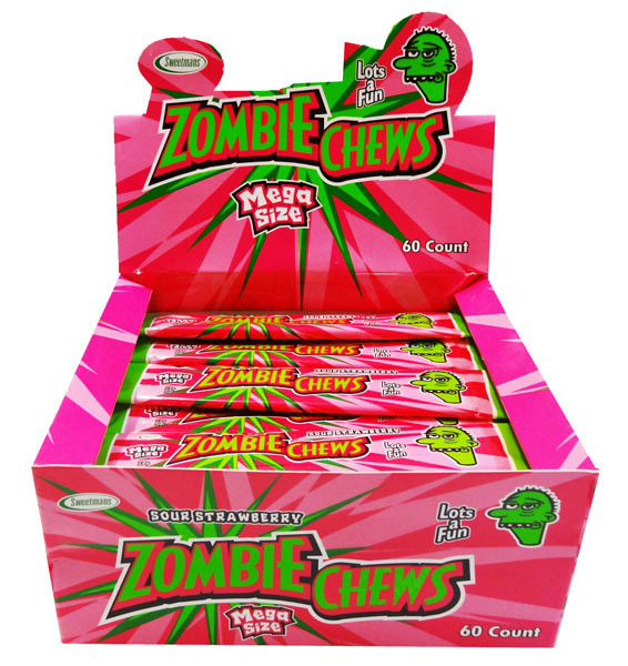 Zombie Chews - Sour Strawberry, by Sweetmans,  and more Confectionery at The Professors Online Lolly Shop. (Image Number :8326)