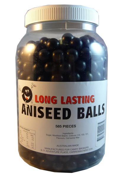 Long Lasting Aniseed Balls, by Candy Brokers,  and more Confectionery at The Professors Online Lolly Shop. (Image Number :2954)