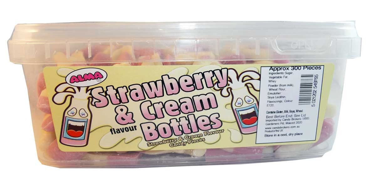 Strawberry and Cream Bottles, by Candy Brokers,  and more Confectionery at The Professors Online Lolly Shop. (Image Number :2579)