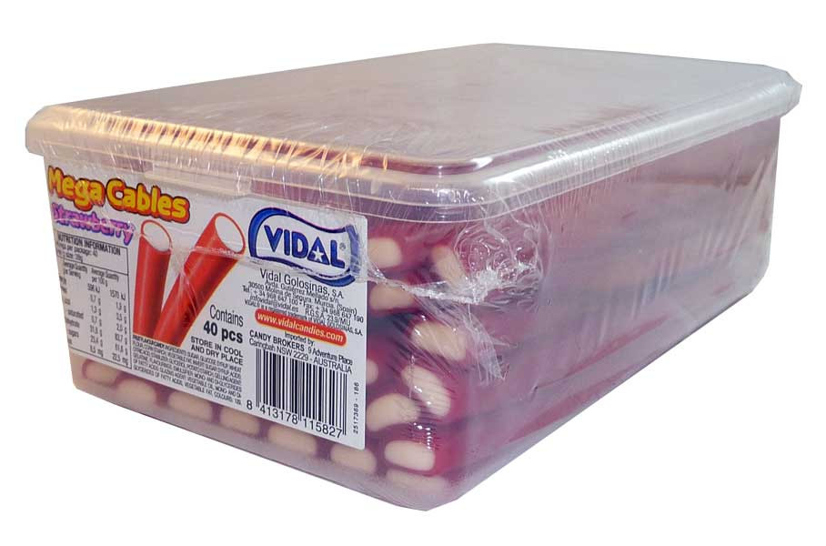 Vidal Mega Cables - Strawberry, by vidal,  and more Confectionery at The Professors Online Lolly Shop. (Image Number :2738)