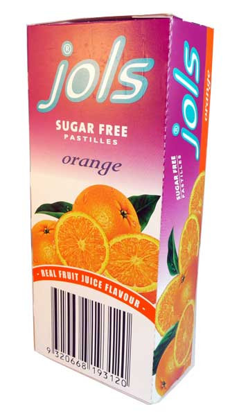 Jols Sugar Free Pastilles - Orange, by Jols,  and more Confectionery at The Professors Online Lolly Shop. (Image Number :2680)