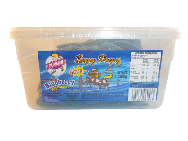 Loopy Doopy Sour Blueberry Strings, by AIT Confectionery,  and more Confectionery at The Professors Online Lolly Shop. (Image Number :3250)