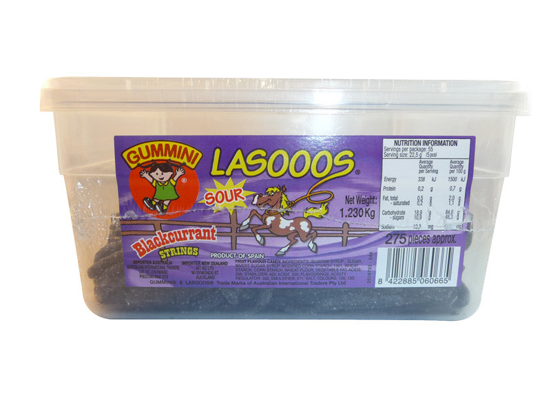 Lasooos Sour Blackcurrant Strings, by AIT Confectionery,  and more Confectionery at The Professors Online Lolly Shop. (Image Number :3263)