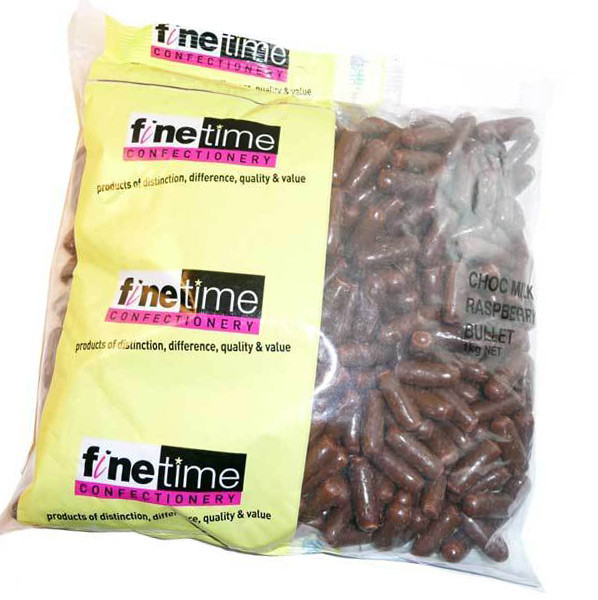 FineTime Milk Choc Raspberry Bullets, by FineTime,  and more Confectionery at The Professors Online Lolly Shop. (Image Number :6135)