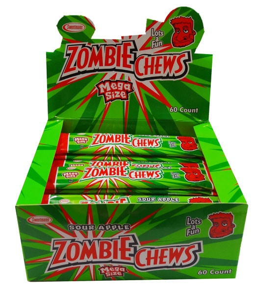 Zombie Chews - Sour Apple, by Sweetmans,  and more Confectionery at The Professors Online Lolly Shop. (Image Number :8396)