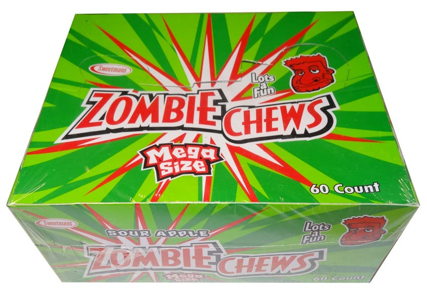 Zombie Chews - Sour Apple, by Sweetmans,  and more Confectionery at The Professors Online Lolly Shop. (Image Number :8397)