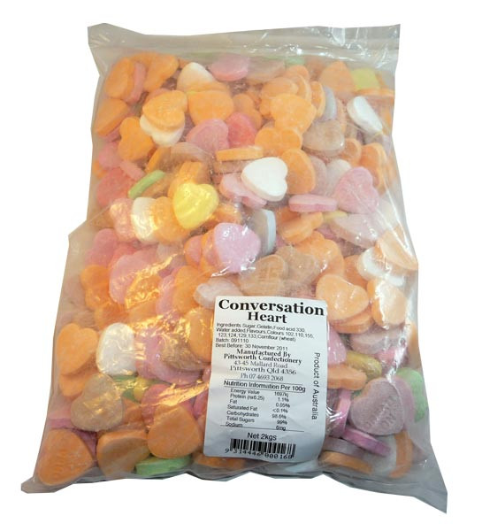 Conversation Hearts, by Candy Brokers/Pittsworth Confectionery,  and more Confectionery at The Professors Online Lolly Shop. (Image Number :3031)