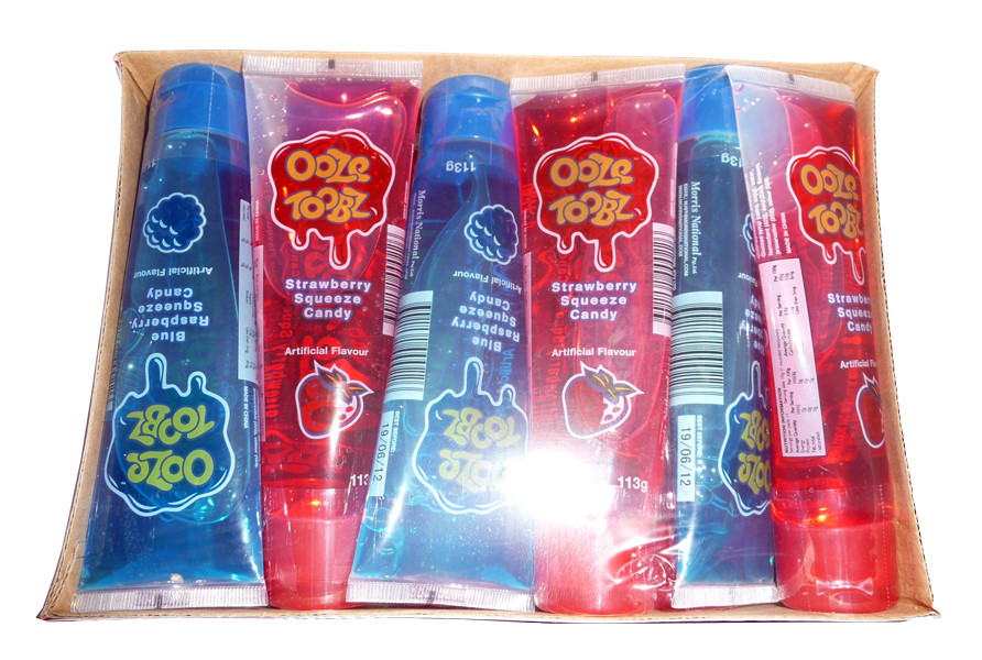 Ooze Toobz Strawberry / Blue Raspberry, by Morris National,  and more Confectionery at The Professors Online Lolly Shop. (Image Number :3153)