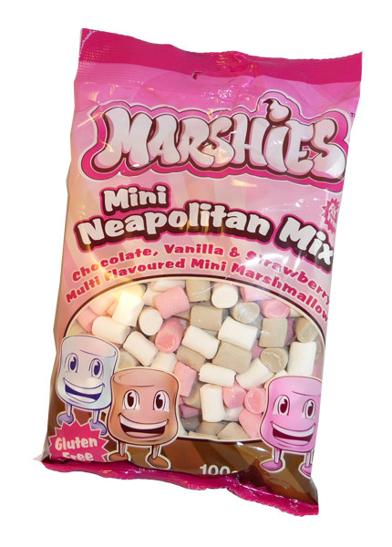 Marshies Mini Neapolitan Mix Marshmallows, by Marshies,  and more Confectionery at The Professors Online Lolly Shop. (Image Number :3171)