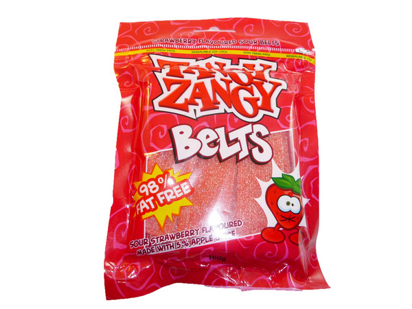 Tangy Zangy Belts Strawberry, by Morris National,  and more Confectionery at The Professors Online Lolly Shop. (Image Number :3234)