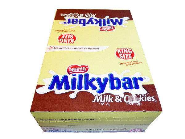 Milkybar King Size Milk and Cookies, by Nestle,  and more Confectionery at The Professors Online Lolly Shop. (Image Number :3217)