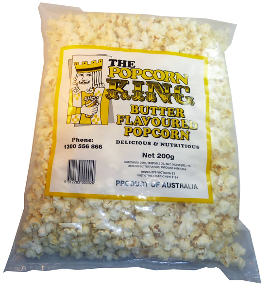 Butter Flavoured Popcorn - Large, by The Popcorn King,  and more Snack Foods at The Professors Online Lolly Shop. (Image Number :3239)